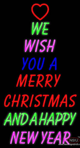 Wishing Merry Christmas Happy New Year Real Neon Glass Tube Neon Sign