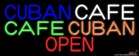 Cuban Cafe Open Real Neon Glass Tube Neon Sign
