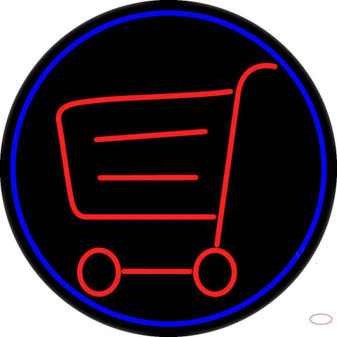Grocery Trolley Logo Real Neon Glass Tube Neon Sign