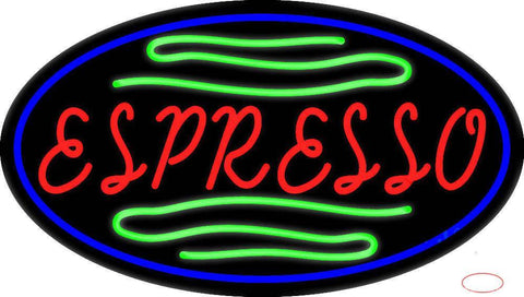 Red Espresso With Green Lines Real Neon Glass Tube Neon Sign