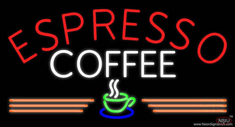 Round Espresso Coffee Real Neon Glass Tube Neon Sign