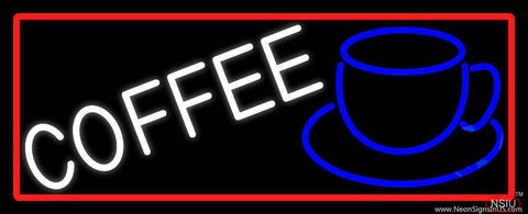 White Cup Blue Coffee Real Neon Glass Tube Neon Sign