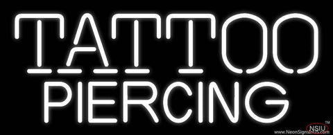 White Tattoo Piercing Real Neon Glass Tube Neon Sign