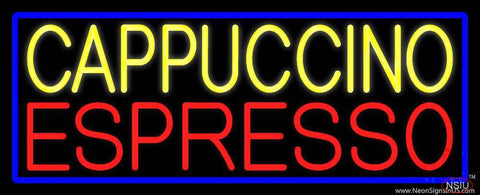 Yellow Cappuccino Red Espresso Real Neon Glass Tube Neon Sign