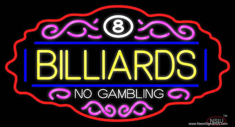 Billiards No Gambling  Real Neon Glass Tube Neon Sign