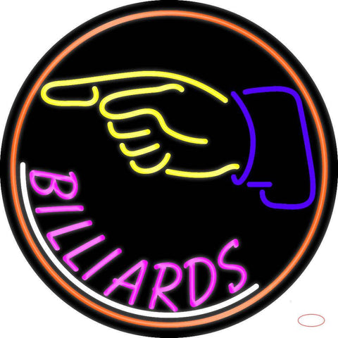 Billiards With Hand Logo  Real Neon Glass Tube Neon Sign