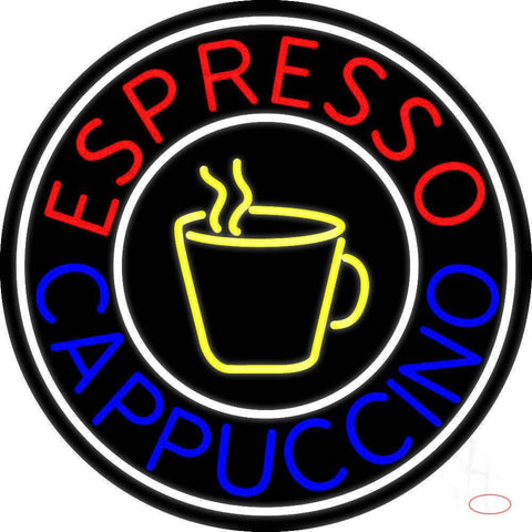 Round Cappuccino Espresso Real Neon Glass Tube Neon Sign