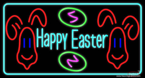 Multicolor Happy Easter  Real Neon Glass Tube Neon Sign