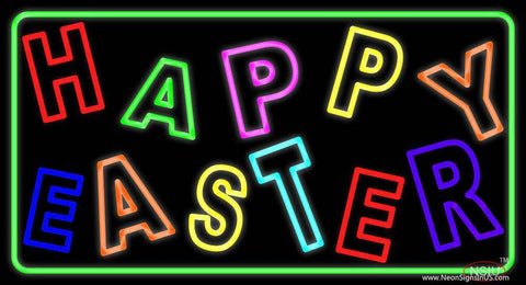Purple Happy Easter  Real Neon Glass Tube Neon Sign