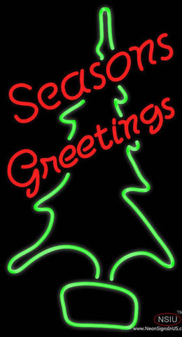 Seasons Greetings With Christmas Tree Real Neon Glass Tube Neon Sign