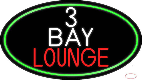 Bay Lounge Oval With Green Border Real Neon Glass Tube Neon Sign
