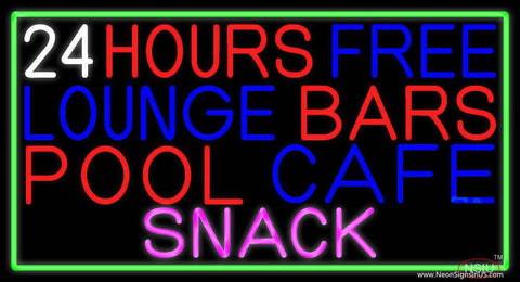 Hours Free Lounge Bars Pool Cafe Snack With Green Border Real Neon Glass Tube Neon Sign
