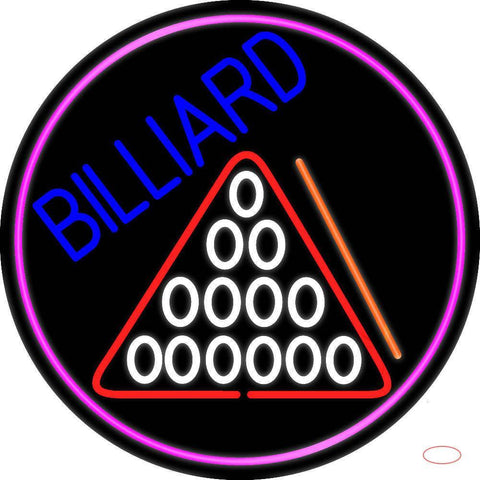 Billiard Oval With Pink Border Real Neon Glass Tube Neon Sign