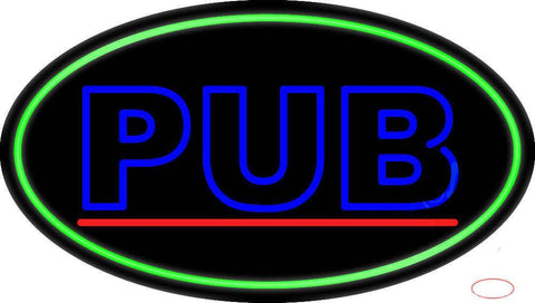 Blue Pub Oval With Green Border Real Neon Glass Tube Neon Sign