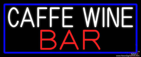 Cafe Wine Bar With Blue Border Real Neon Glass Tube Neon Sign