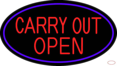 Carry Out Open Real Neon Glass Tube Neon Sign