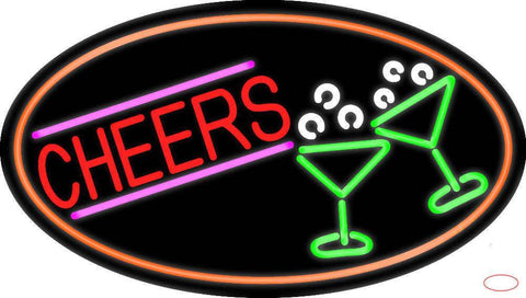 Cheers And Wine Glass Oval With Orange Border Real Neon Glass Tube Neon Sign