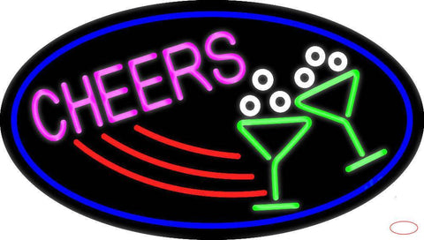 Cheers With Wine Glass Oval With Blue Border Real Neon Glass Tube Neon Sign