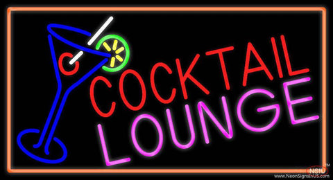 Cocktail Lounge And Martini Glass With Orange Border Real Neon Glass Tube Neon Sign