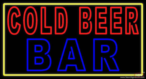 Cold Beer Bar With Yellow Border Real Neon Glass Tube Neon Sign