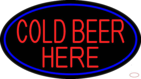 Cold Beer Here With Blue Border Real Neon Glass Tube Neon Sign