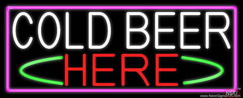 Cold Beer Here With Pink Border Real Neon Glass Tube Neon Sign