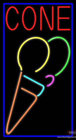 Cone Multicolored Ice Cream Real Neon Glass Tube Neon Sign