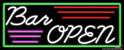 Cursive Bar Open Real Neon Glass Tube Neon Sign