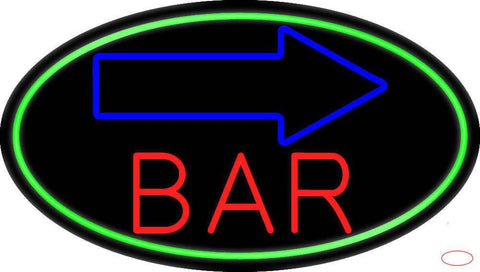 Curve Bar With Arrow Real Neon Glass Tube Neon Sign