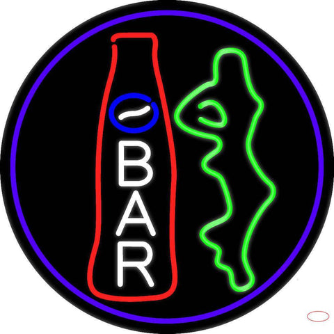 Custom Bar With Bottle And Girl Oval With Purple Border Real Neon Glass Tube Neon Sign