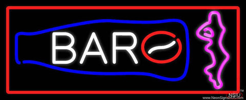 Custom Bar With Bottle And Girl With Red Border Real Neon Glass Tube Neon Sign