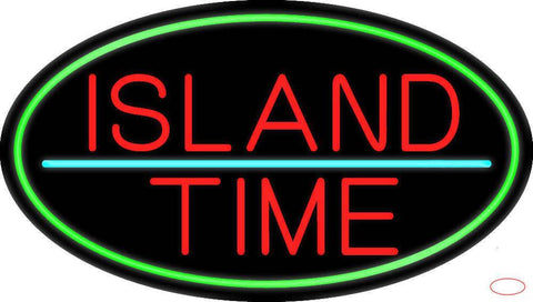 Custom Island Time Oval With Green Border Real Neon Glass Tube Neon Sign