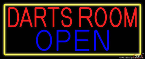 Darts Room Open With Yellow Border Real Neon Glass Tube Neon Sign