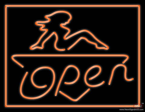 Open Strip Girl Real Neon Glass Tube Neon Sign