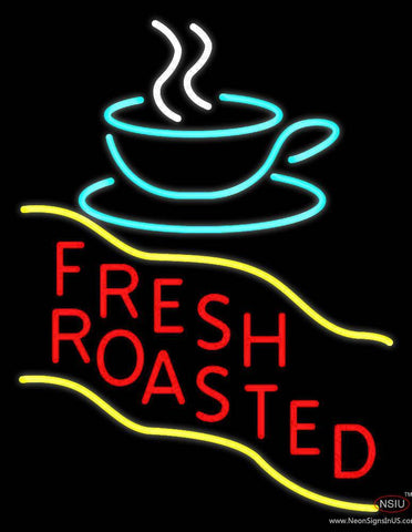 Red Fresh Roasted Coffee Cup Real Neon Glass Tube Neon Sign