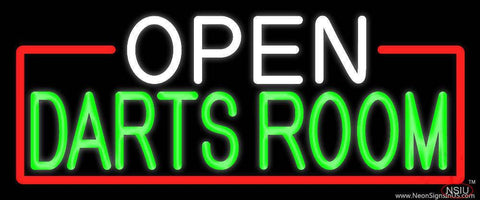 Open Darts Room With Red Border Real Neon Glass Tube Neon Sign