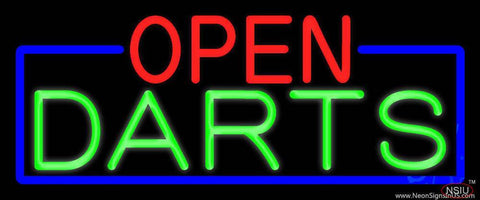 Open Darts With Blue Border Real Neon Glass Tube Neon Sign