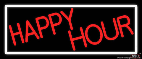 Red Happy Hour With White Border Real Neon Glass Tube Neon Sign