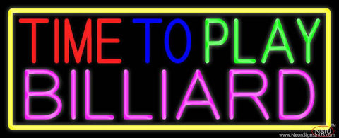 Time To Play Billiard With Yellow Border Real Neon Glass Tube Neon Sign