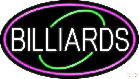 White Billiards Oval With Pink Border Real Neon Glass Tube Neon Sign