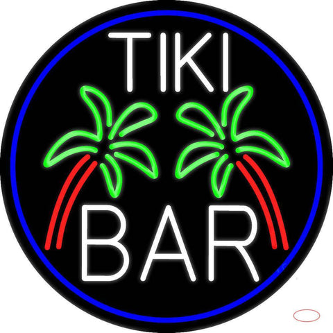 White Tiki Bar Palm Tree Oval With Blue Border Real Neon Glass Tube Neon Sign