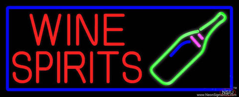 Wine Spirits With Blue Border Real Neon Glass Tube Neon Sign