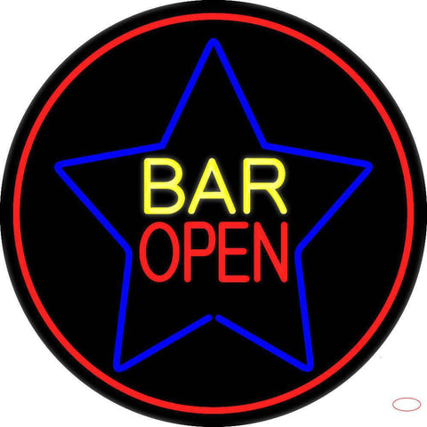 Yellow Bar Open Inside Blue Star Real Neon Glass Tube Neon Sign