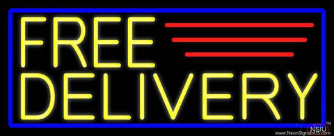 Yellow Free Delivery With Blue Border Real Neon Glass Tube Neon Sign