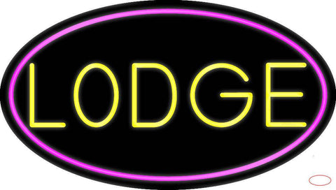 Yellow Lodge With Pink Border Real Neon Glass Tube Neon Sign