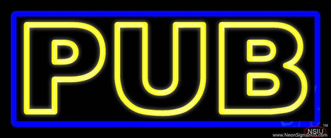 Yellow Pub With Blue Border Real Neon Glass Tube Neon Sign