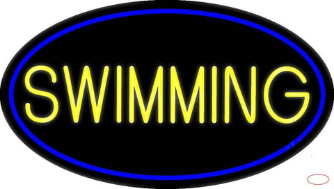 Yellow Swimming With Blue Border Real Neon Glass Tube Neon Sign