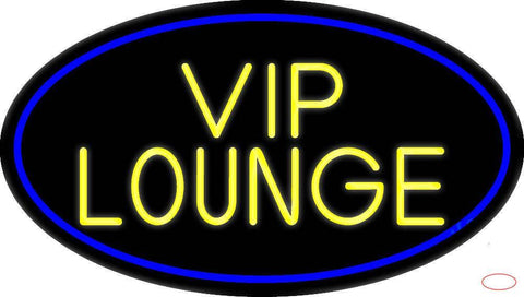 Yellow Vip Lounge Oval With Blue Border Real Neon Glass Tube Neon Sign