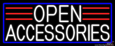 White Open Accessories With Blue Border Real Neon Glass Tube Neon Sign