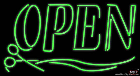 Green Open With Scissor Real Neon Glass Tube Neon Sign